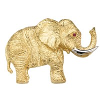Elephant Pin Gold with Ruby Eyes
