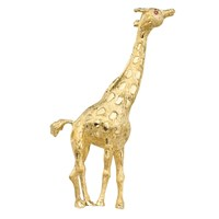 Giraffe Pin 18k Gold Ruby Eyes