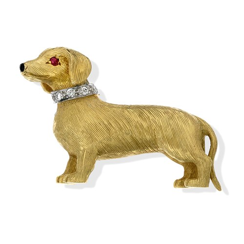 18k Gold Dachshund Pin with Ruby Eyes, Onyx Nose & Diamond Collar