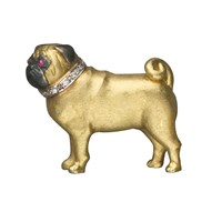 Pug Brooch Gold with Diamonds & Rubies