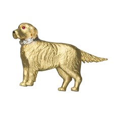 18k Gold Retriever Pin