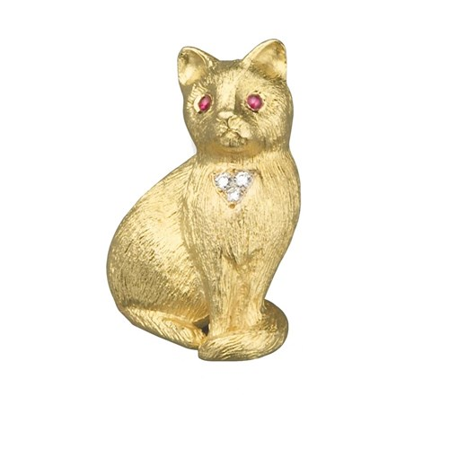 Cat Brooch Gold Diamonds & Rubies