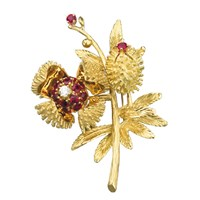 Chestnut Pin Gold Rubies Diamond