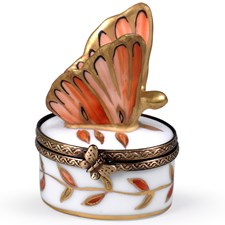 Orange & Gold Butterfly Limoges Box