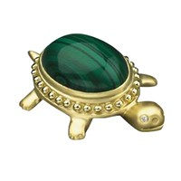 18k Gold and Malachite Turtle Pin