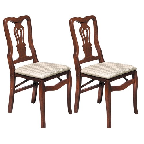 Double Scroll Back Folding Chair, Set of 2