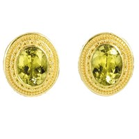 Mali Garnet Faceted Earrings 22k Gold