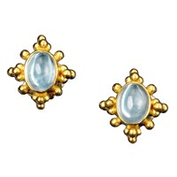 Aquamarine Starburst Earrings 22k G