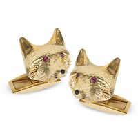 Fox Cufflinks Ruby Eyes Onyx Noses