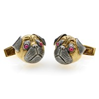 Pug Cufflinks 18K Ruby Eyes Oxidized