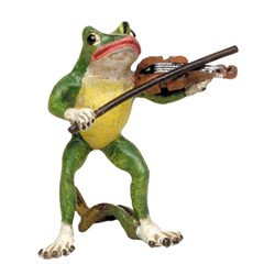 Bronze Frog with Violin