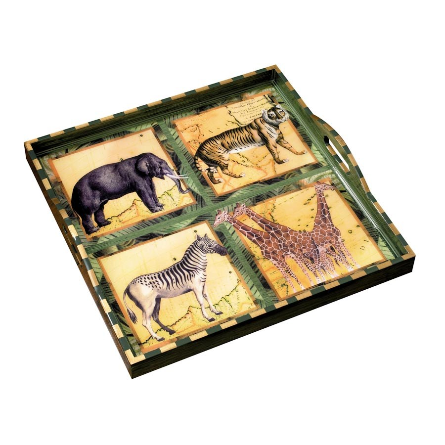 African Ottoman Tray Painted Wooden Decoupage Trays