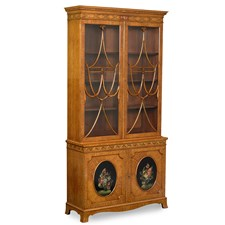 Satinwood Decorated China Cabinet