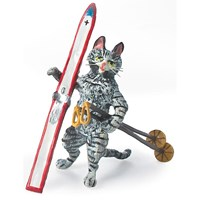 Austrian Bronze Cat with Ski and Poles Figurine