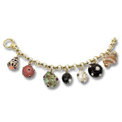 18k Gold with Shell Charms Bracelet
