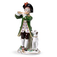 Porcelain Boy Playing Flute with Dog