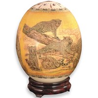 Decoupage Ostrich Egg with Leopard