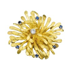 Gold Spray Brooch with Sapphires & Diamonds