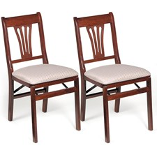 Elegant Stafford Fan Back Folding Chair, Set of 2