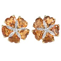 18k White Gold Amber Citrine Sand Dollar Earrings