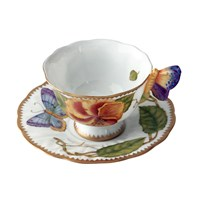 Anna Weatherley Butterfly Handle Tea Cup & Saucer