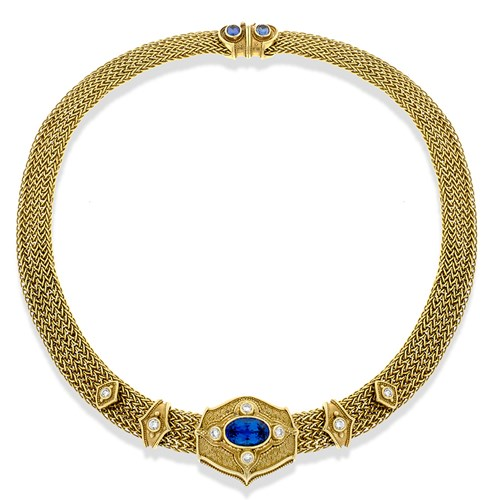18k Gold Woven Tanzanite and Diamond Necklace