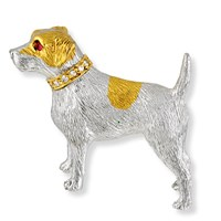 Jack Russell Terrier Pin with 18k Diamond Onyx