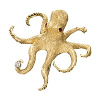 18K Gold Octopus with Ruby Eyes Pin
