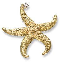 Gold Starfish Pin .05ct Diamond