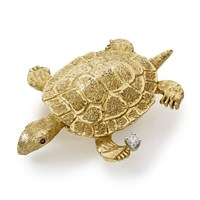 Gold Sea Turtle Pin .05ct Dia Ruby Eyes