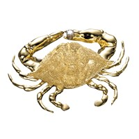 18K Gold Blue Crab with Diamond Pin