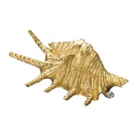Gold Spikey Shell Pin .05ct Diamond