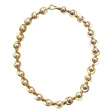 22k Gold Roman Link & Pink Pearl Necklace