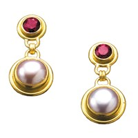 Red Tourmaline & Pink Pearl Earrings