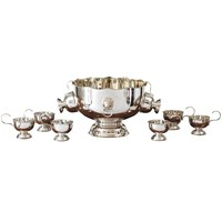 Silverplate Punch Bowl with Eight Cups