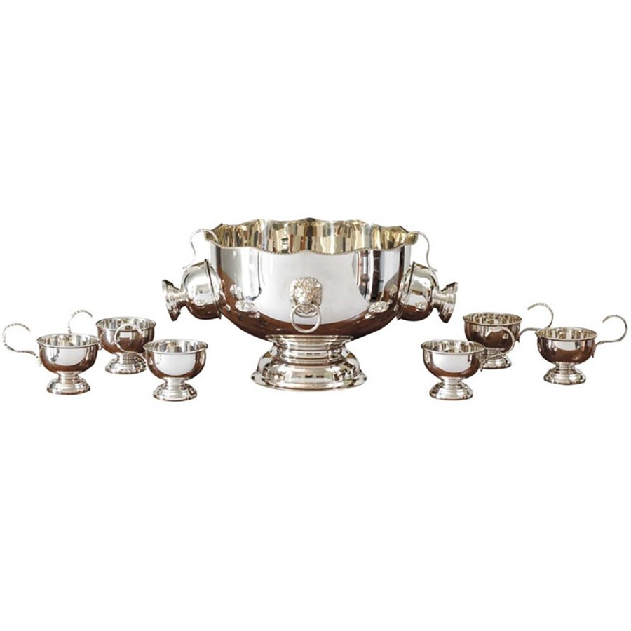 Silverplate Punch Bowl With Eight Cups Serving Pieces