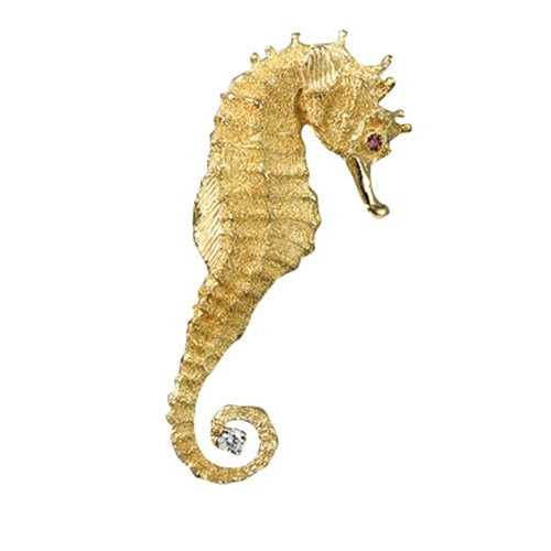 18K Gold Large Seahorse with Diamond Pin