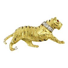 18k Yellow Gold Tiger with Diamond Collar Pin