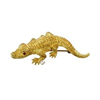 18k Gold Alligator Pin Rubies Diamond