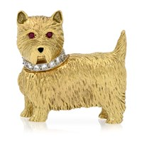 18k Gold Westie Brooch with Diamonds & Ruby Eyes