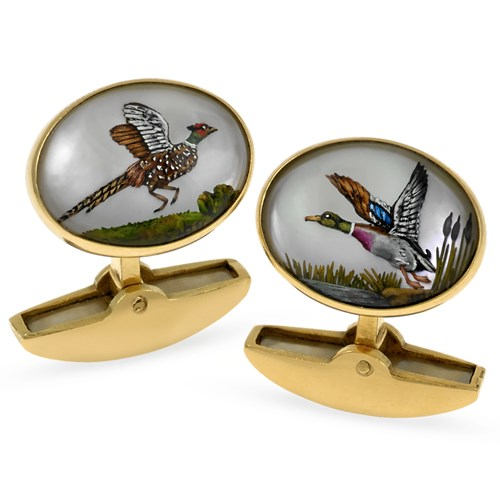 18k Gold Handpainted Game Bird Cufflinks, Birds in Flight