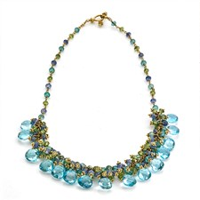 18k Gold Blue Topaz Briolette Cluster Necklace