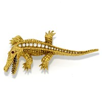18k Gold Alligator Brooch with Diamonds
