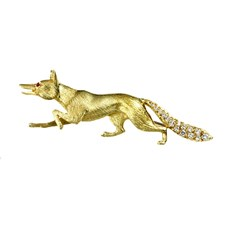 18k Yellow Gold Fox Pin