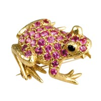 Frog Pin Pink Sapphires Onyx Eyes