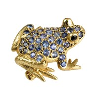 Frog Pin Blue Sapphires Onyx Eyes