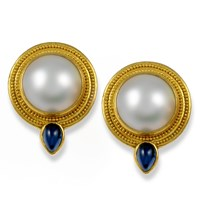18k Gold & Mabe Pearl Earrings, Posts