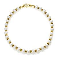 Freshwater Pearl Necklace with 18k Gold Granulated Rondelles