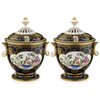 Pair of Cobalt Blue Covered Urns