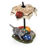 Austrian Bronze Easter Cat, Umbrella, Ladybug Figurine